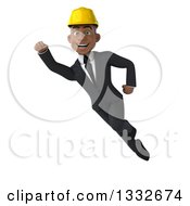 Clipart Of A 3d Young Black Male Architect Flying 2 Royalty Free Illustration by Julos