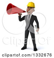 Clipart Of A 3d Young Black Male Architect Holding Plans And Announcing With A Megaphone Royalty Free Illustration by Julos