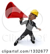 Clipart Of A 3d Young Black Male Architect Announcing Upwards To The Left With A Megaphone Royalty Free Illustration by Julos