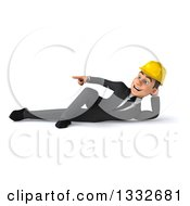 Clipart Of A 3d Young White Male Architect Resting On His Side And Pointing To The Left Royalty Free Illustration