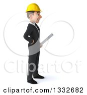 Clipart Of A 3d Young White Male Architect Facing Right And Holding Blueprints Royalty Free Illustration