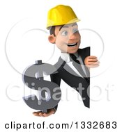 Clipart Of A 3d Young White Male Architect Holding A Dollar Symbol And Looking Around A Sign Royalty Free Illustration