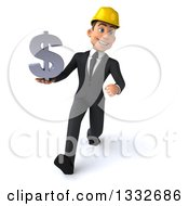 Clipart Of A 3d Young White Male Architect Speed Walking And Holding A Dollar Symbol Royalty Free Illustration