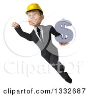 Clipart Of A 3d Young White Male Architect Flying And Holding A Dollar Symbol 3 Royalty Free Illustration