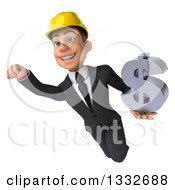 Clipart Of A 3d Young White Male Architect Flying And Holding A Dollar Symbol 2 Royalty Free Illustration