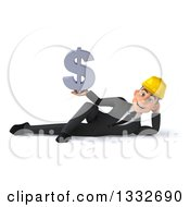 Clipart Of A 3d Young White Male Architect Resting On His Side And Holding A Dollar Symbol Royalty Free Illustration