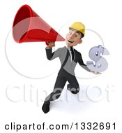 Clipart Of A 3d Young White Male Architect Holding A Dollar Symbol And Announcing Upwards With A Megaphone Royalty Free Illustration
