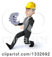 Clipart Of A 3d Young White Male Architect Speed Walking To The Left And Holding A Euro Symbol Royalty Free Illustration