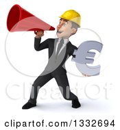 Clipart Of A 3d Young White Male Architect Holding A Euro Symbol And Announcing To The Left With A Megaphone Royalty Free Illustration