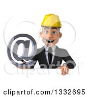 Clipart Of A 3d Young White Male Architect Holding An Email Arobase At Symbol Over A Sign Royalty Free Illustration