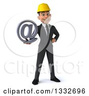 Clipart Of A 3d Young White Male Architect Holding Out An Email Arobase At Symbol Royalty Free Illustration