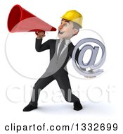 Clipart Of A 3d Young White Male Architect Holding An Email Arobase At Symbol And Using A Megaphone Royalty Free Illustration