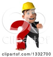 Clipart Of A 3d Young White Male Architect Holding A Question Mark Around A Sign Royalty Free Illustration