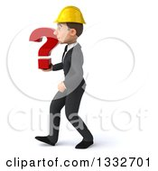 Clipart Of A 3d Young White Male Architect Walking To The Left And Holding A Question Mark Royalty Free Illustration