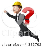 Clipart Of A 3d Young White Male Architect Flying Up To The Left And Holding A Question Mark Royalty Free Illustration