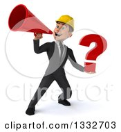 Clipart Of A 3d Young White Male Architect Using A Megaphone And Holding A Question Mark Royalty Free Illustration