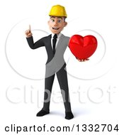 Clipart Of A 3d Young White Male Architect Holding Up A Finger And A Love Heart Royalty Free Illustration