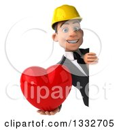 Clipart Of A 3d Young White Male Architect Holding A Love Heart And Looking Around A Sign Royalty Free Illustration