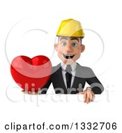 Clipart Of A 3d Young White Male Architect Holding A Love Heart Over A Sign Royalty Free Illustration
