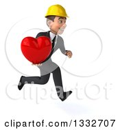 Clipart Of A 3d Young White Male Architect Sprinting To The Right And Holding A Love Heart Royalty Free Illustration