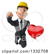 Clipart Of A 3d Young White Male Architect Flying And Holding A Love Heart Royalty Free Illustration