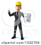 Clipart Of A 3d Young White Male Architect Holding Up A Finger And A Tooth Royalty Free Illustration
