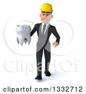 Clipart Of A 3d Young White Male Architect Walking And Holding A Tooth Royalty Free Illustration