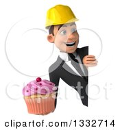Clipart Of A 3d Young White Male Architect Holding A Pink Frosted Cupcake And Looking Around A Sign Royalty Free Illustration