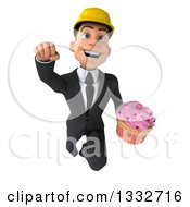 Clipart Of A 3d Young White Male Architect Flying And Holding A Pink Frosted Cupcake Royalty Free Illustration