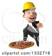 Clipart Of A 3d Young White Male Architect Holding A Pizza Around A Sign Royalty Free Illustration