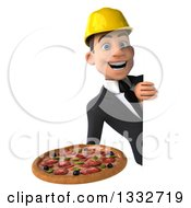 Clipart Of A 3d Young White Male Architect Holding A Pizza Around A Sign 2 Royalty Free Illustration