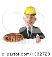 Clipart Of A 3d Young White Male Architect Holding A Pizza Over A Sign Royalty Free Illustration