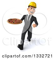 Clipart Of A 3d Young White Male Architect Speed Walking And Holding A Pizza Royalty Free Illustration