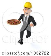 Clipart Of A 3d Young White Male Architect Sprinting And Holding A Pizza Royalty Free Illustration