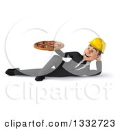 Clipart Of A 3d Young White Male Architect Resting On His Side And Holding A Pizza Royalty Free Illustration