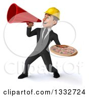 Clipart Of A 3d Young White Male Architect Holding A Pizza And Announcing To The Left With A Megaphone Royalty Free Illustration