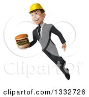 Clipart Of A 3d Young White Male Architect Flying And Holding A Double Cheeseburger 2 Royalty Free Illustration