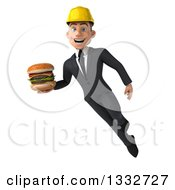 Clipart Of A 3d Young White Male Architect Flying And Holding A Double Cheeseburger Royalty Free Illustration