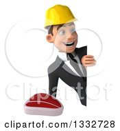 Clipart Of A 3d Young White Male Architect Holding A Beef Steak And Looking Around A Sign Royalty Free Illustration