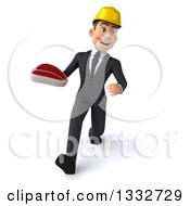 Clipart Of A 3d Young White Male Architect Speed Walking And Holding A Beef Steak Royalty Free Illustration