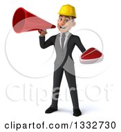 Clipart Of A 3d Young White Male Architect Holding A Beef Steak And Announcing With A Megaphone Royalty Free Illustration