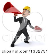 Clipart Of A 3d Young White Male Architect Holding A Beef Steak And Announcing With A Megaphone 2 Royalty Free Illustration