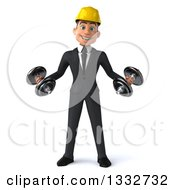 Clipart Of A 3d Young White Male Architect Working Out Doing Bicep Curls With Dumbbells Royalty Free Illustration