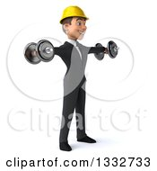 Clipart Of A 3d Young White Male Architect Facing Slightly Right Working Out Doing Lateral Raises With Dumbbells Royalty Free Illustration