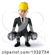 Clipart Of A 3d Young White Male Architect Working Out Doing Squats With Dumbbells Royalty Free Illustration