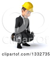 Clipart Of A 3d Young White Male Architect Working Out Facing Slightly Right Doing Squats With Dumbbells Royalty Free Illustration
