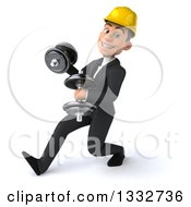 Clipart Of A 3d Young White Male Architect Speed Walking Slightly Left Working Out With Dumbbells Royalty Free Illustration