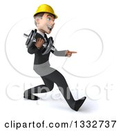 Clipart Of A 3d Young White Male Architect Speed Walking To The Right Pointing And Working Out With A Dumbbell Royalty Free Illustration