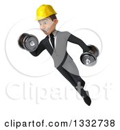 Clipart Of A 3d Young White Male Architect Flying Doing Bicep Curls Working Out With Dumbbells Royalty Free Illustration