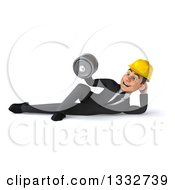 Clipart Of A 3d Young White Male Architect Resting On His Side Doing Bicep Curls And Working Out With A Dumbbell Royalty Free Illustration